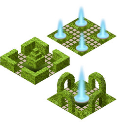 Garden isometric set to create garden landscape vector
