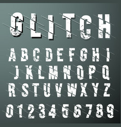 glitch font alphabet template vector image