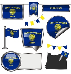 Glossy icons with Oregonian flag vector
