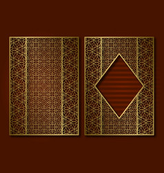 golden vintage book cover template face and back vector image