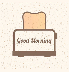 Good morning text with bread symbol vector