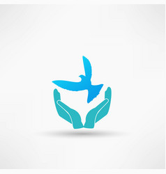 Hands and dove icon vector
