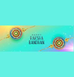 happy raksha bandhan celebration banner design vector image
