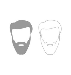 head with beard and hair grey set icon vector image