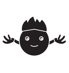 hippy emoji black concept icon hippy emoji vector image