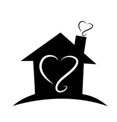 home black silhouette house outline logo vector image