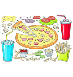 image creative pizzas a slice pizza vector image