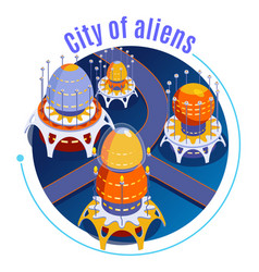 isometric aliens composition vector image