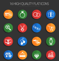 Jewerly store 16 flat icons vector