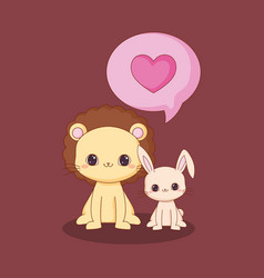 kawaii animals and love vector image