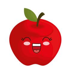 Kawaii apple icon vector