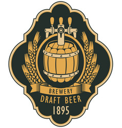 Label of draft beer with barrel and coat of arms vector