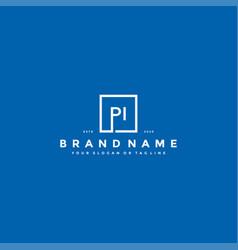 Letter pi logo design vector