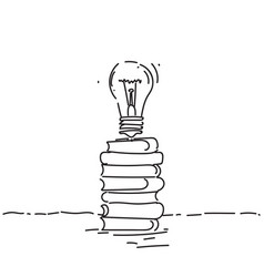light bulb on books stack new creative idea vector image