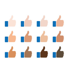 like icon of different race skin color thumbs up vector image