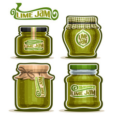Lime jam in jars vector