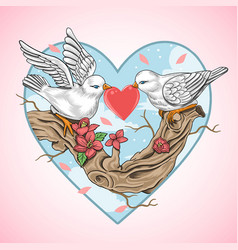 love bird valentine heart vector image