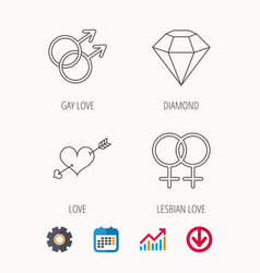 Love heart diamond and lesbian love icons vector