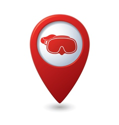 Map pointer with diving mask icon vector