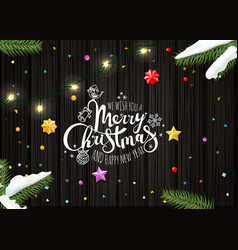 merry christmas wishing card template top view vector image