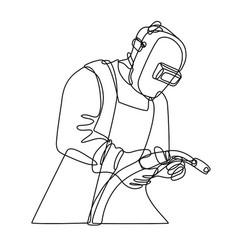 Mig welder with visor holding welding torch vector