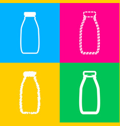 Milk bottle sign four styles of icon on four vector