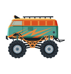 monster truck vehicle van car with large tires vector image