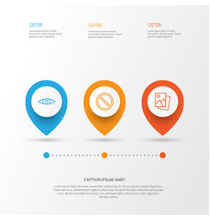 Network icons set collection of glance landscape vector