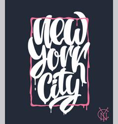 new york city lettering design hand written vector image