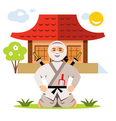 ninja and dojo flat style colorful cartoon vector image