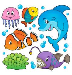 Ocean fauna topic set 1 vector