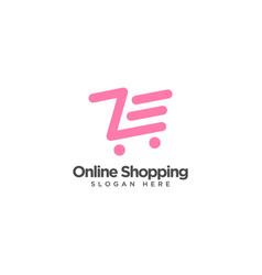 Online shopping logo design template vector