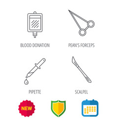 Pipette blood donation and scalpel icons vector