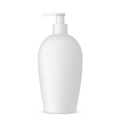 Plastic cosmetic bottle with pump mockup isolated vector