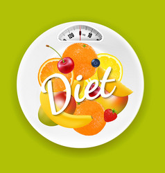 Plate with weight scale and fruits vector