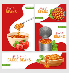 Realistic baked beans banners vector