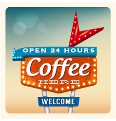 Retro Neon Sign Coffee vector image