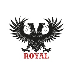 Royal double headed eagle black heraldic symbol vector image