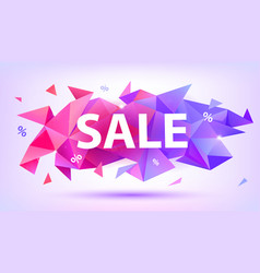Sale facet crystal banner 3d abstract vector