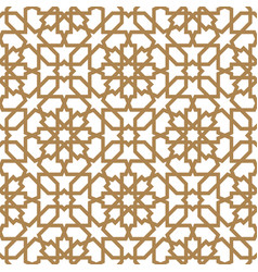 seamless arabic geometric ornament in golden color vector image