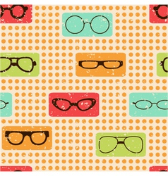 seamless color retro pattern with glasses vector image