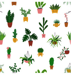seamless pattern with different indoor plants vector image