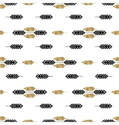 Seamless pattern with gold feathers vector