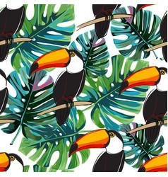 Seamless toucan pattern summer background vector