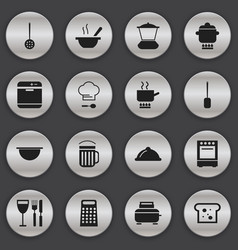 Set of 16 editable restaurant icons includes vector
