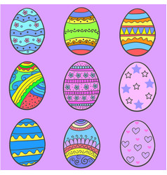 Set of easter egg various style vector