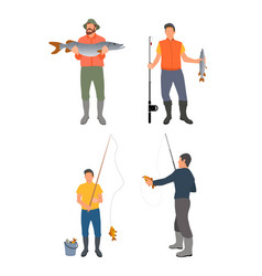 set of fishers with catch isolated on white banner vector image