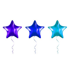 set purple and blue star shaped foil balloons vector image