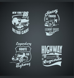 set retro cars and trucs vintage logotypes vector image