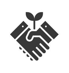 shaking hand and tree green energy concept vector image